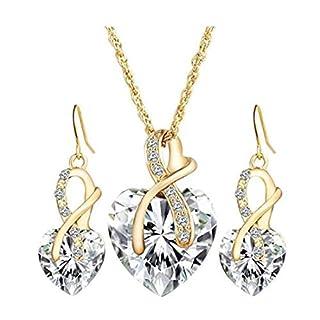 LnLyin Flash Diamond Crystal Love Set Jewelry Necklace Earrings Pendant,White