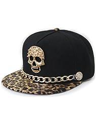 Casquette Snapback réglable casquette de baseball hip-hop Punk Rock Style Léopard, crâne, Café