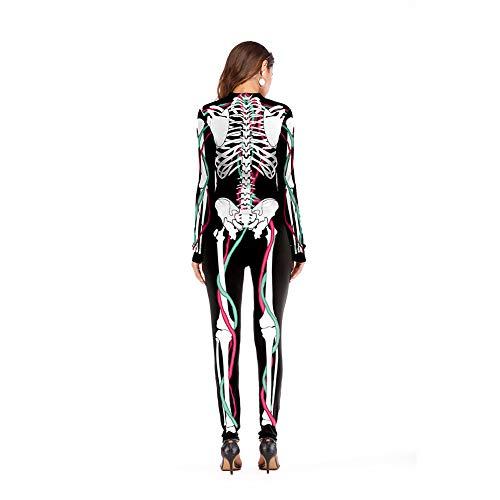WYN Halloween 3D Gedrucktes Skelett Langarm-Overall -