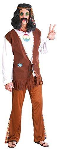 Hippy 1960s Jahre 1970s 60s Jahre 70s Jahre Jahrzehnte Kostüm Kleid Outfit groß - Braun, Large (Jahrzehnte Kostüme)