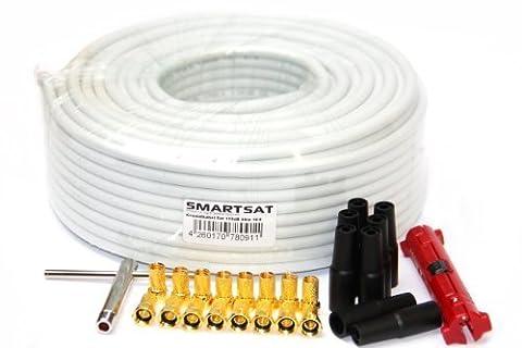 Smartsat 50m Koaxial Kabel 7,4 - 8,2mm Installation Set SAT-Kabel inkl. Abisolierer, F-Aufdrehwerkzeug, Steckern vergoldet und Schutztüllen, HDTV und 3D tauglich, Koaxkabel für DVB-S, DVB-C/T, Sat-Anschluss-Kit (50m 7,4mm