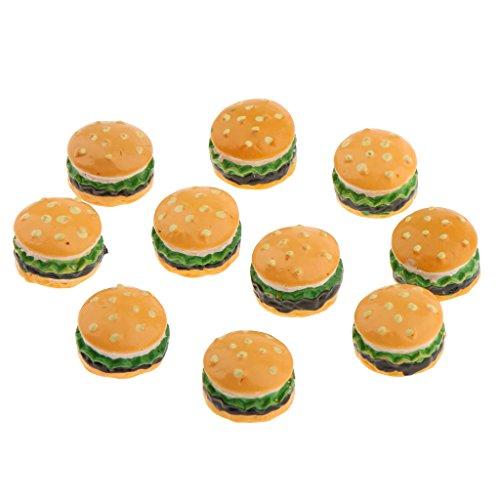 MagiDeal 10 Stück 1/12 Maßstab Puppenhaus Miniatur Essen Dessert Hamburger / Pudding / Erdbeer Kuchen - Hamburger (Erdbeer-zubehör)
