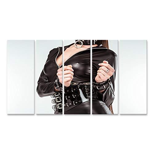 bilderfelix® Bild auf Leinwand Versaute Frau in sexy Kostüm und Handschellen isoliert auf Weiß Wandbild, Poster, Leinwandbild QUX