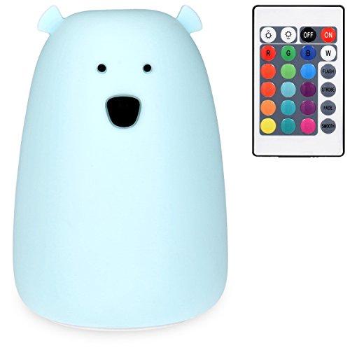 Navaris LED Nachtlicht Bär Design - Fernbedienung Micro USB Kabel - Süße RGB Farbwechsel Kinder Nachttischlampe - Eisbär Schlummerlicht Blau