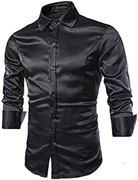 Jeansian Uomo Maniche Lunghe Moda Men Shirts Slim Fit Disegno Casuale Collare Camicie 8737