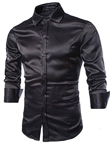 Jeansian uomo maniche lunghe moda men shirts slim fit disegno casuale collare camicie 8737 black m