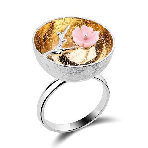 Lotus Fun S925 Sterling Silber Ring Der Duft des Wintersweet Ring Natürlicher Schale Kreativ Beliebt Handgemachter Einzigartiger Schmuck für Frauen und Mädchen -
