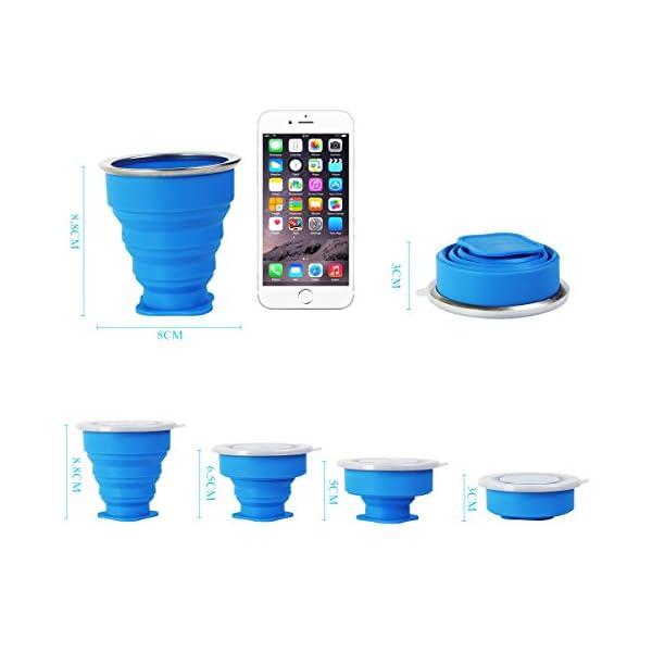 2 pcs Tazas de Viaje 200ml de Silicona Plegable Portátil y Reutilizable,Vaso Con Tapa sin BPA para camping senderismo y… 1