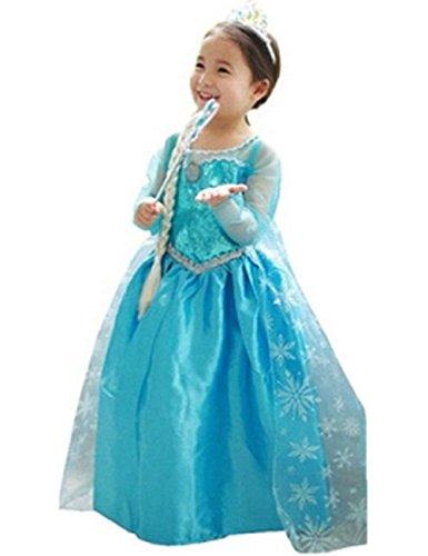 Ninimour Disfraz Vesitdo de Princesa Elsa para Las Niñas