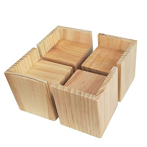 Kimmyer 4 Stück Bed Risers 3 Zoll, Heavy Duty Holzfarbe Holzmöbel Risers, Brown Sofa Couch Risers oder Tisch Risers (helle Holzfarbe) -