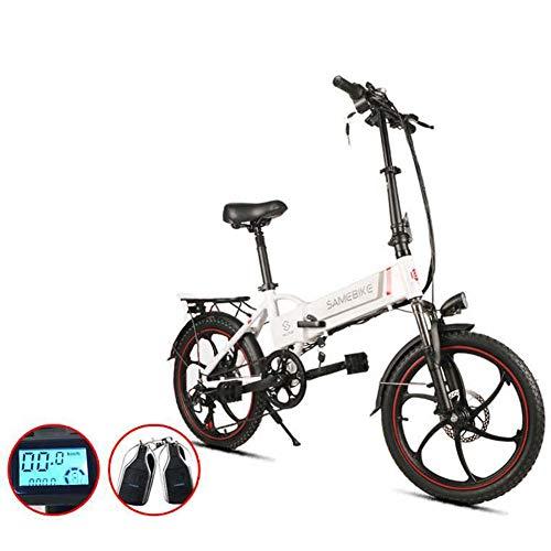 ZBB Bici elettriche Bicicletta per Adulti 350 W velocità Pieghevole Fino a 35 km/h con Batteria a Lungo Raggio da 60-80 km Batteria da 20 Pollici Pneumatico 180 kg Carico Massimo con Sedile,Bianca