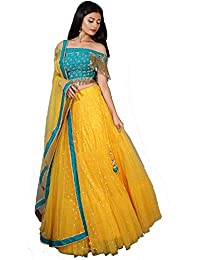 4Fashion Women's Satin Semi-stitched Lehenga Choli