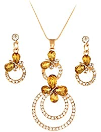 Shining Diva Gold Plated Crystal Fancy Party Wear Pendant Set / Necklace Jewellery Set With Earrings For Girls...
