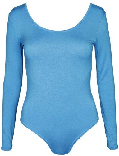 Damen Schlicht Langärmelig Damen Stretch Rund U-ausschnitt Druckknopf Druckknopfverschluss Body T-Shirt Body Top Blaugrün