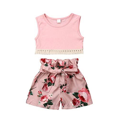 Wang-RX Kinder Baby Mädchen Sommer Kleidung Quaste Weste Tops Floral Shorts Hosen 2 Stücke Outfits Set 2-6Years -