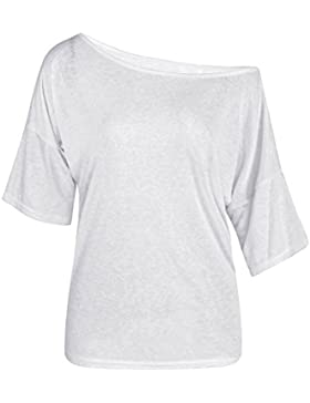 TININNA Moda Camiseta,Mujer verano casual suelto manga corta blusa de las tapas ocasionales de la camiseta Tops-blanco M