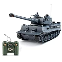 1:28 RC German Tiger Army Tank Toys,9 Chanels Romote Control Vehicles with Sound and Light,Military Toys for Kids Boys Girls.