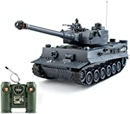 1:28 RC German Tiger Army Tank Toys,9 Chanels Romote Control Vehicles with Sound and Light,Military Toys for K