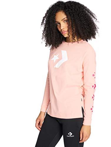 Converse Star Chevron T-Shirt Long Sleeve Tee Storm Pink, Damen, Pink (Storm Pink) -