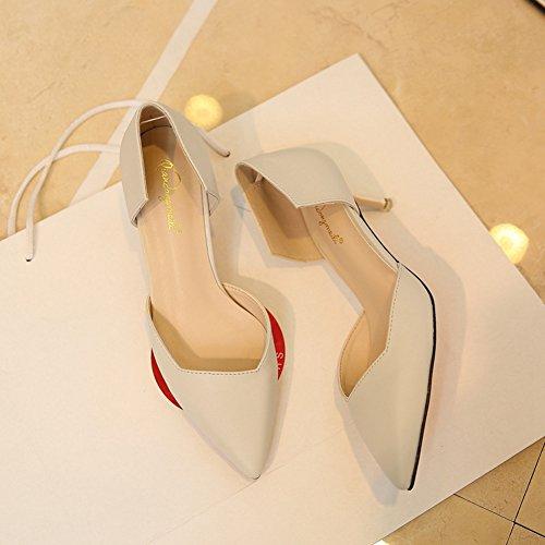 Damen Spitze Pumps Freizeit Koreanische Stilettos Mit 5.5cm Absatz Weiß