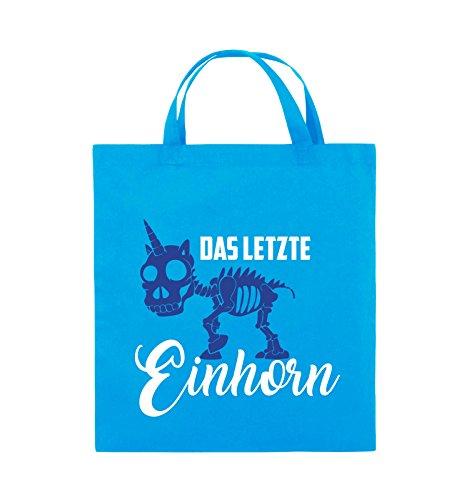 Comedy Bags - Das letzte Einhorn - SKELETTE - Jutebeutel - kurze Henkel - 38x42cm - Farbe: Schwarz / Weiss-Neongrün Hellblau / Weiss-Royalblau