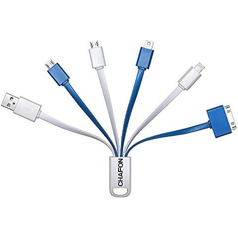 Chafon Últimas Prima 6 en 1 multi cable de carga USB adaptadores Fast conector corto con 8 pines Iluminación / 30 Pin / Micro USB / Mini Puertos USB para iPhone 6s, 6s Plus, iPhone 6, 6 Plus, 5 / 5S / 5C, 4S 4, iPad 4 3 2, iPad Aire, iPad Mini, iPod touch de quinta generación, iPod nano de séptima generación, Galaxy S2, S3, S4 y Más, Compatible con la mayoría de los bancos externos de energía - Perfecto para Viajar!