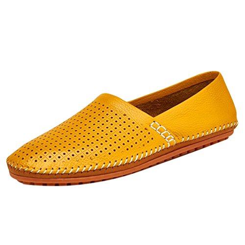 Baymate Homme Confortables PU Loafers Respirant Été Slip-On Chaussures Bateau Jaune