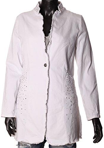 BASIC.de Damen Blazer Mantel mit Glitzer Nieten ausgefranst MELLY 9519 Weiss XL