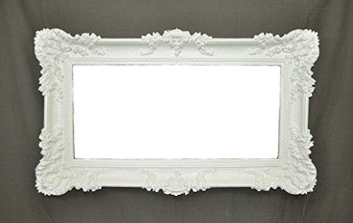 Idea casa specchio specchiera grande bianco cornice stile barocco finto vintage cm 96x56