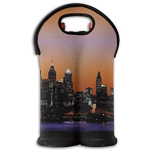 Neoprene Wine Tote Bag Insulated Philadelphia City Lanscape Travel Padded 2 Bottle Wine/Champagne Cooler Carrier