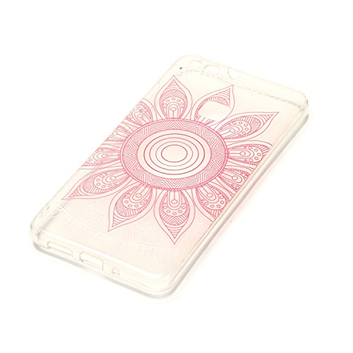 Huawei P10 Lite Custodia, Cover Huawei P10 Lite in Silicone TPU Transparente, JAWSEU Creativo Disegno Super Sottile Cristallo Chiaro Custodia per Huawei P10 Lite Corpeture Case Antiurto Anti-scratch S Fiore rosa