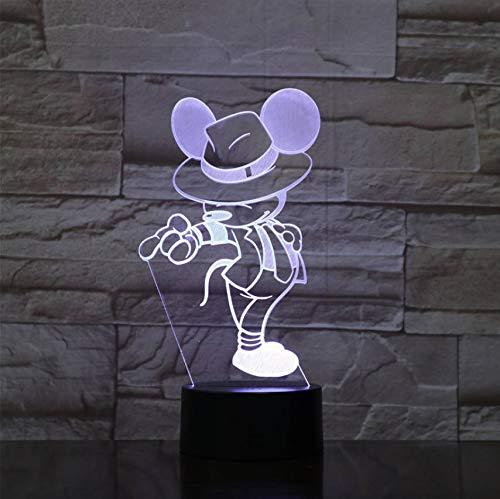 Usb 3D Led Nachtlicht Mickey Mouse Figur Kinder Kinder Geschenk Baby Nachtlicht Tanz Action Lampe Schlafzimmer