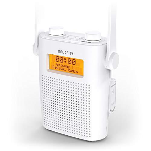Majority Eversden DAB/DAB + wiederaufladbares tragbares UKW-Duschradio, wasserdichtes IPX5, stoßfestes Material, Gummiband, Bluetooth, AUX-Eingang, Kopfhöreranschluss, Dual-Wecker, Dusch-Timer (Weiß)