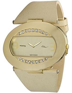 Moog Paris - Smile Damen Uhr mit Champagner Zifferblatt, Swarovski Elements & Beige Armband aus Echtem Leder -...