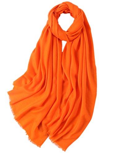 Prettystern - donne sciarpa lana fibre twill xl 210cm frange corte tinta unita lunga pashmina stola - arancione