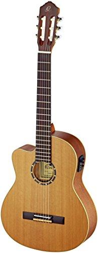 Ortega Guitars RCE131L Konzertgitarre in 4/4 Größe Linkshänder Cutaway elektrifiziert natur massive Decke im seidenmatten Finish mit hochwertigem Gigbag und Gurt