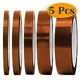 5 pack High Temp Klebeband 30M, EEIEER 3D Drucker Hitzebeständiges Tape Polyimid Elektronik Isolierband, Hochtemperaturbeständige unterschiedlich 3 mm, 5 mm, 6 mm, 12 mm, 20 mm transparent
