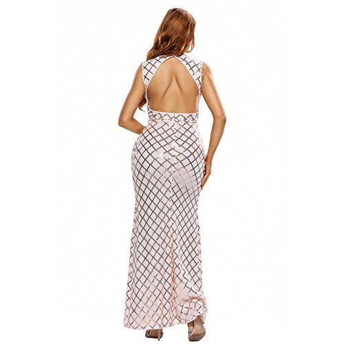 PU&PU Femme Casual / Sortie / Party Elegant Sequins Side Slit Maxi Robe, col V sans manches Open Back pink