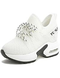 HBDLH-Zapatos de Mujer/La Primavera Y El Verano Transpirable Zapatos De Tela Interior Blanco Aumentó El Calzado...