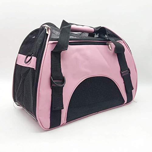 MAOSHE Pet Travel Carriers Soft Sided Tragetaschen Hunde Katzen Airline Approved Dog Carrier Bag (Color : Pink, Size : S) -