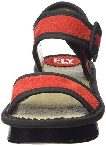 FLY London Kish603Fly, Sandales Compensées femme Rouge - Red (Streetred/Black)
