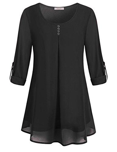 WAJAT Damen New Mode Langarmshirts Rund-Ausschnitt Einfarbig Bluse Locker Basic Casual T-Shirt Oberteil Schwarz XL