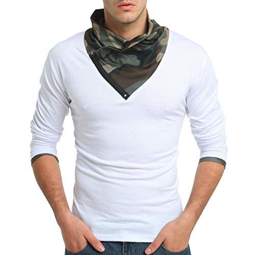 Herren Shirts,Rosennie Herren Casual Camouflage Print O-Ausschnitt Pullover T-Shirt Top Bluse Männer Herbst T-Shirt Langarm Pullover mit Reißverschluss Sweatshirts Top Bluse(Weiß,M)