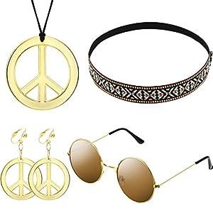 Hippie Kostüm Satz für Damen und Herren mit Sonnenbrille, Frieden Zeichen Halskette und Frieden Zeichen Ohrring sowie Böhmen Stirnband, damit Sie auf der Party Attraktiv werden(Böhmen Stil)