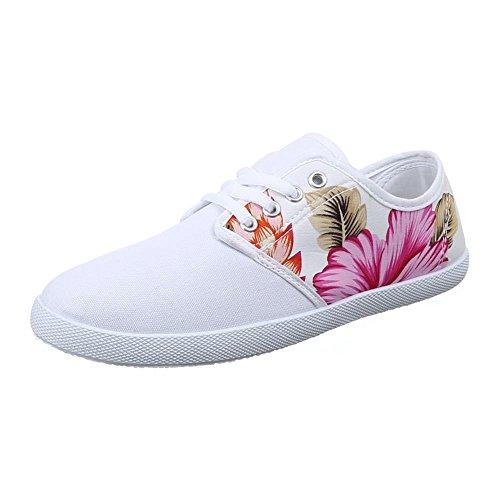 Damen Schuhe, 089-Y, FREIZEITSCHUHE SCHNEAKERS SCHNÜRER Weiß