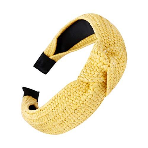 Honestyi Mode Braid Stroh Hairband Frauen Hair Head Hoop Sweet Girls Stirnband 7 18 7 handgewebte Raffia verknotete Kopfbedeckung