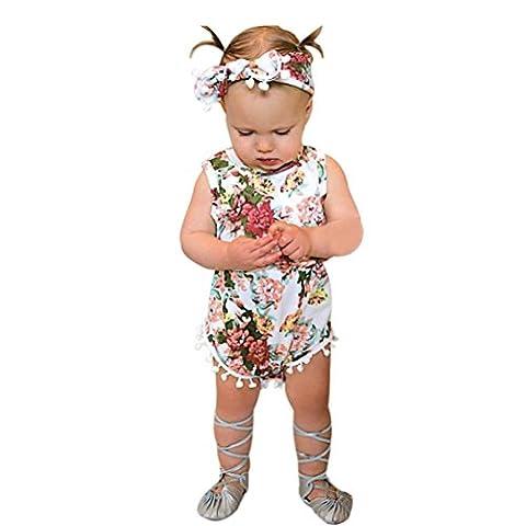 Rawdah 2017 Baby Girls Floral Bodysuit Romper Jumpsuit Sunsuit Vêtements Set pour 6~24 Mois Bebe (18mois, Rose)