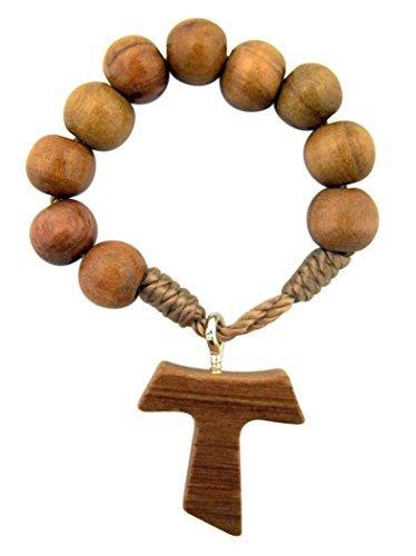 Olivenholz Gebet Bead einem Jahrzehnt Rosenkranz Ring mit Tau Kreuz, 5,1cm