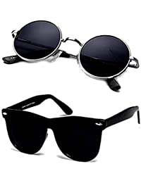 Y&S Unisex UV Protected 55 Black Round Sunglasses and Black Wayfarer Goggle Sunglasses for Mens Women (RoundSilverBlack+SimpleBlackWayfarer)