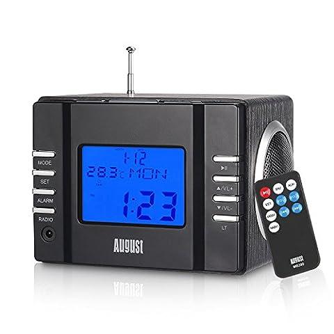 August MB300 - Radio-réveil / Cube lecteur MP3 / Radio FM / Lecteur de Carte SD / USB / AUX-In (prise 3,5 mm)   6W (2 haut-parleurs Hi-Fi 3W)   Batterie Rechargeable Intégrée - Noir